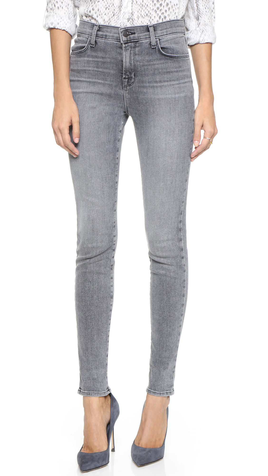 j brand maria high rise skinny jeans in gray lyst. Black Bedroom Furniture Sets. Home Design Ideas