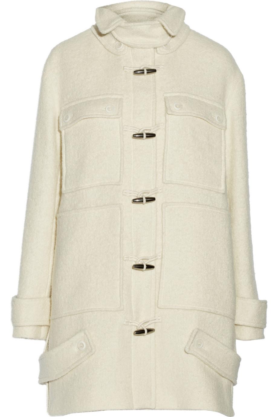 Vanessa bruno Bari Tweed Duffle Coat in White | Lyst