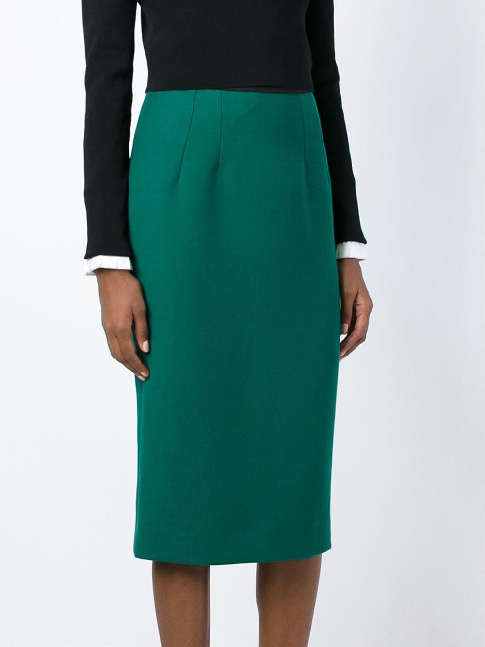 dolce gabbana midi pencil skirt in green lyst