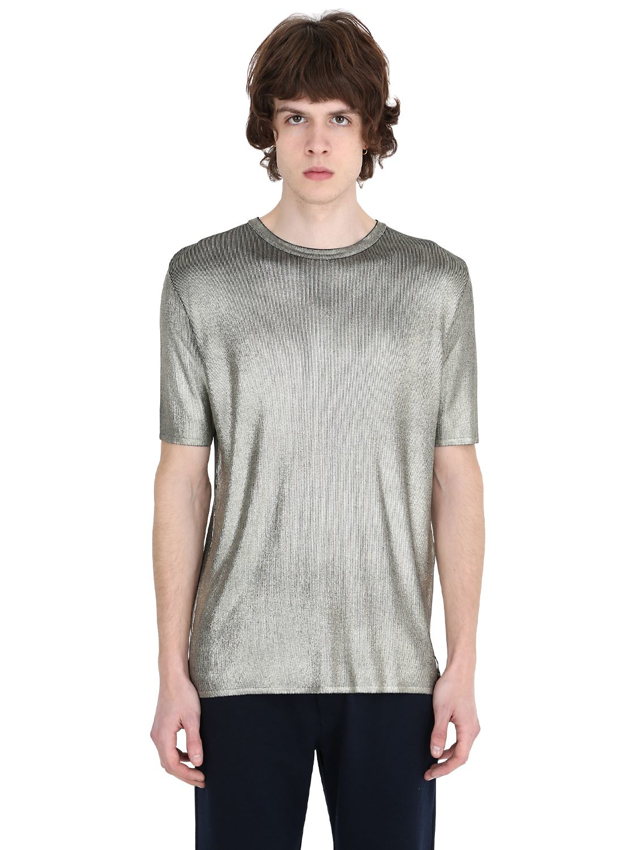 Fendi metallic effect viscose t shirt in metallic for men for Silver jeans t shirts