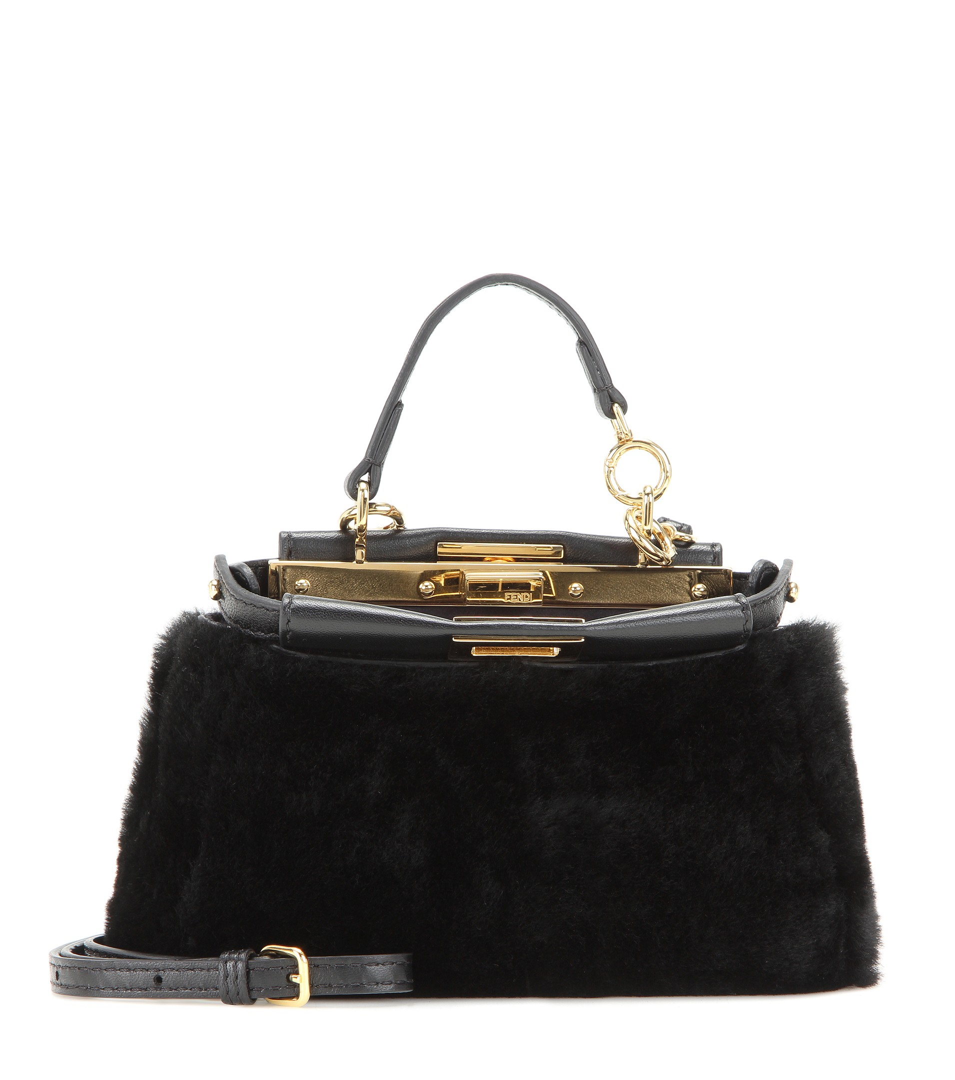 3e557ee52e9f Lyst - Fendi Micro Peekaboo Shearling Shoulder Bag in Black