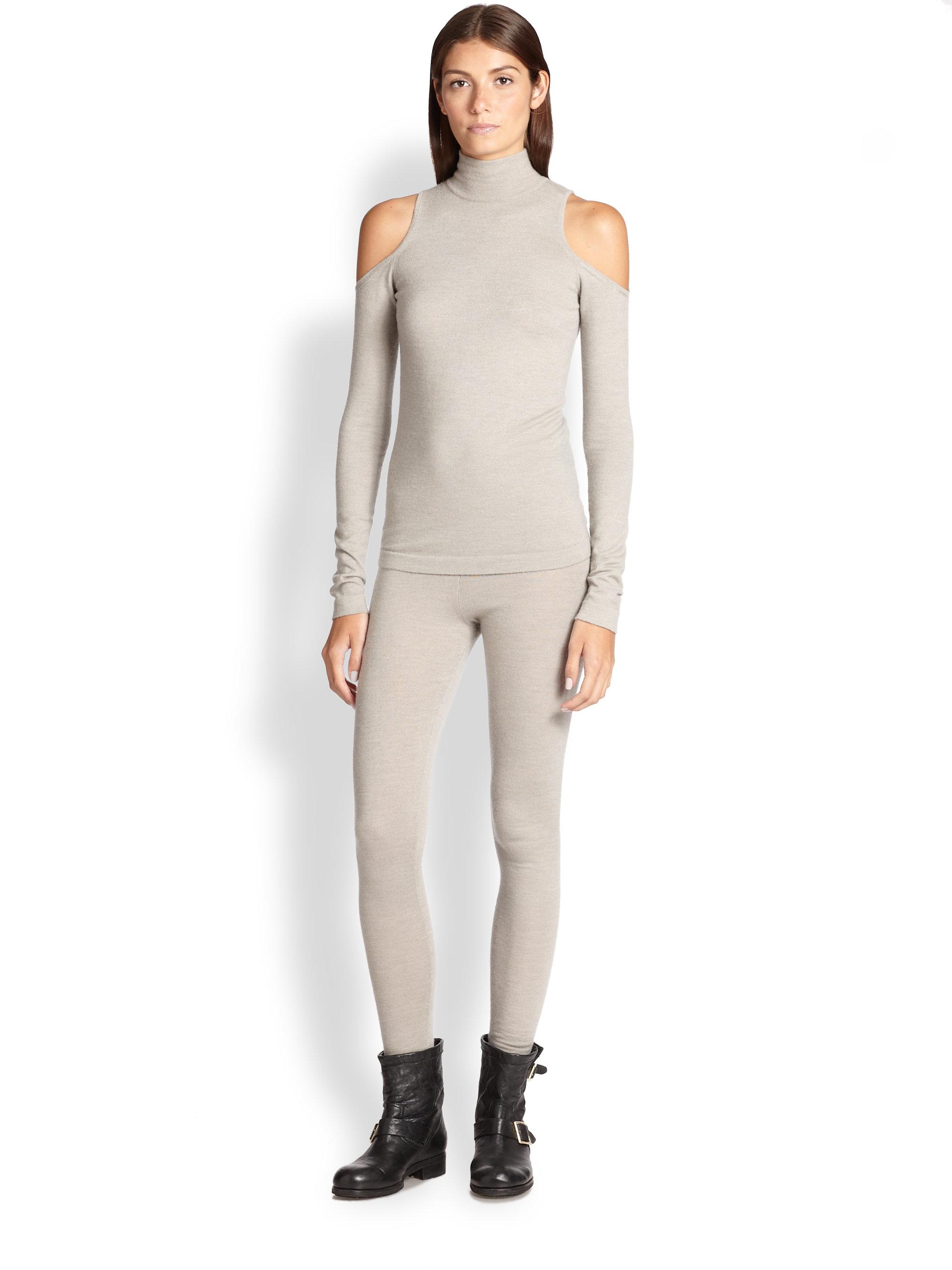 lyst donna karan stretch cashmere knit leggings in gray. Black Bedroom Furniture Sets. Home Design Ideas