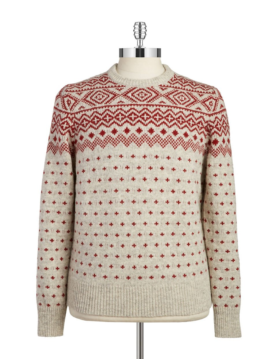 Brooks brothers red fleece Fair Isle Patterned Knit Sweater in Red ...