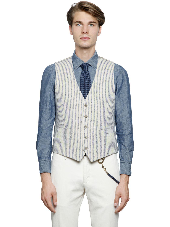 Lardini Striped Cotton Canvas Blend Vest In White For Men