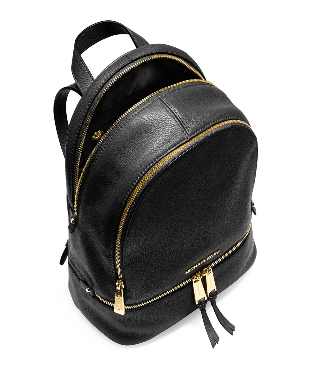 Michael michael kors Rhea Small Zip Backpack in Black | Lyst
