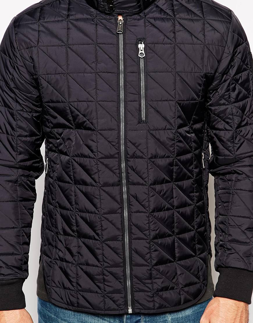 Lyst Replay Overshirt Jacket Quilted In Black For Men