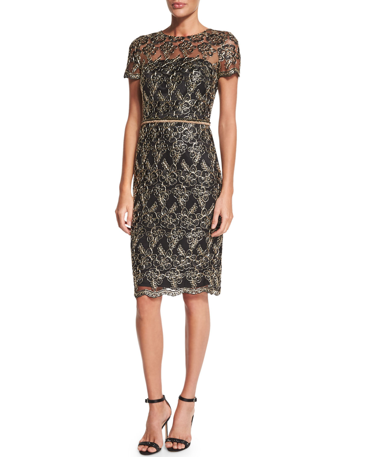 f5fa6b38992 Lyst - David Meister Short-sleeve Embroidered Cocktail Dress in Black