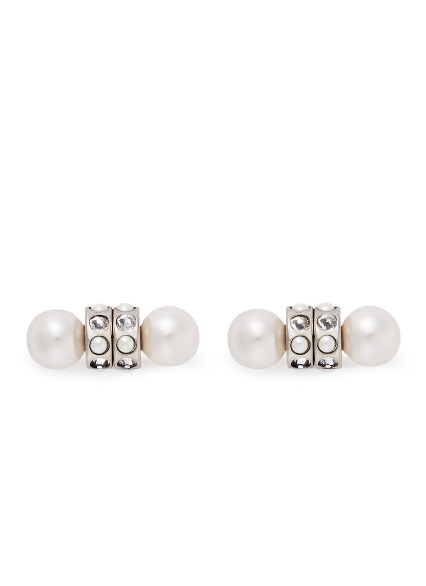 Givenchy Faux Pearl Crystal Magnetic Earrings In White Lyst