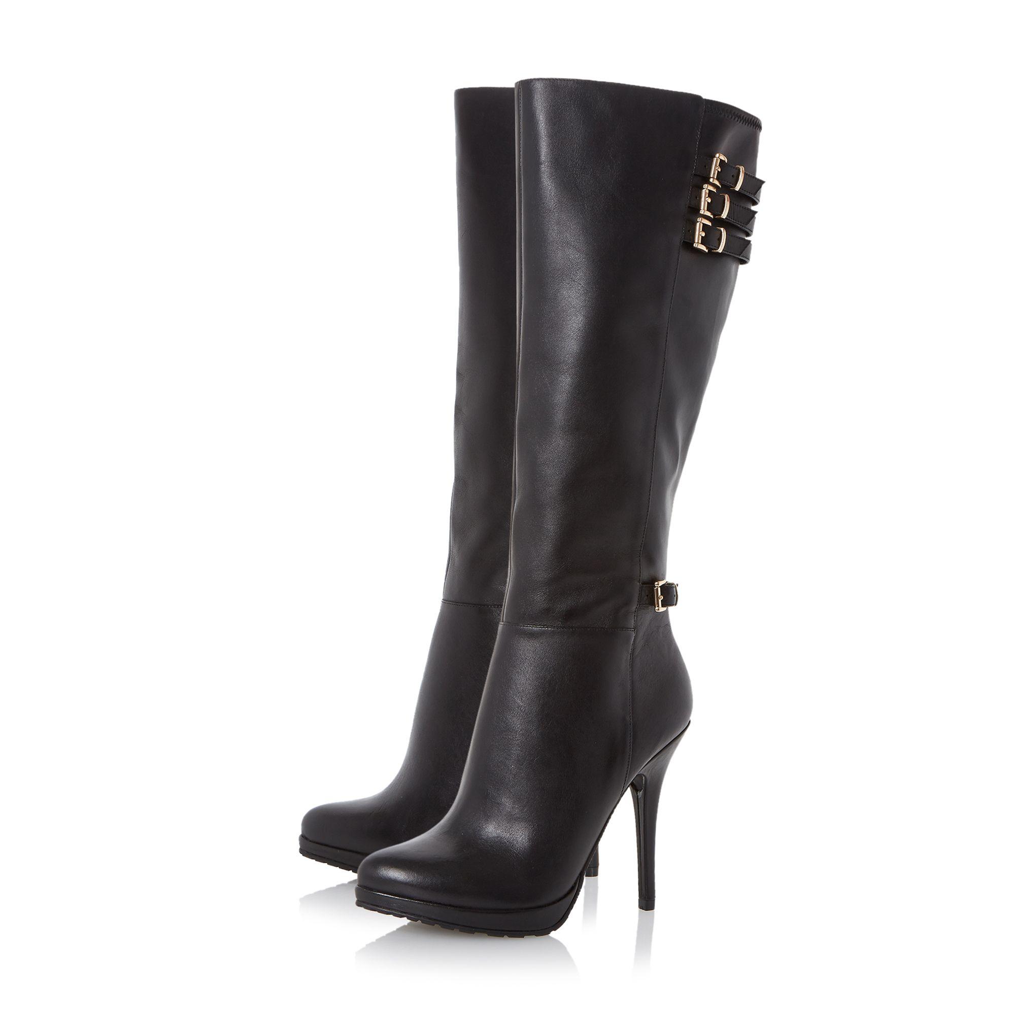 dune snitchee high heel knee high boots in black black