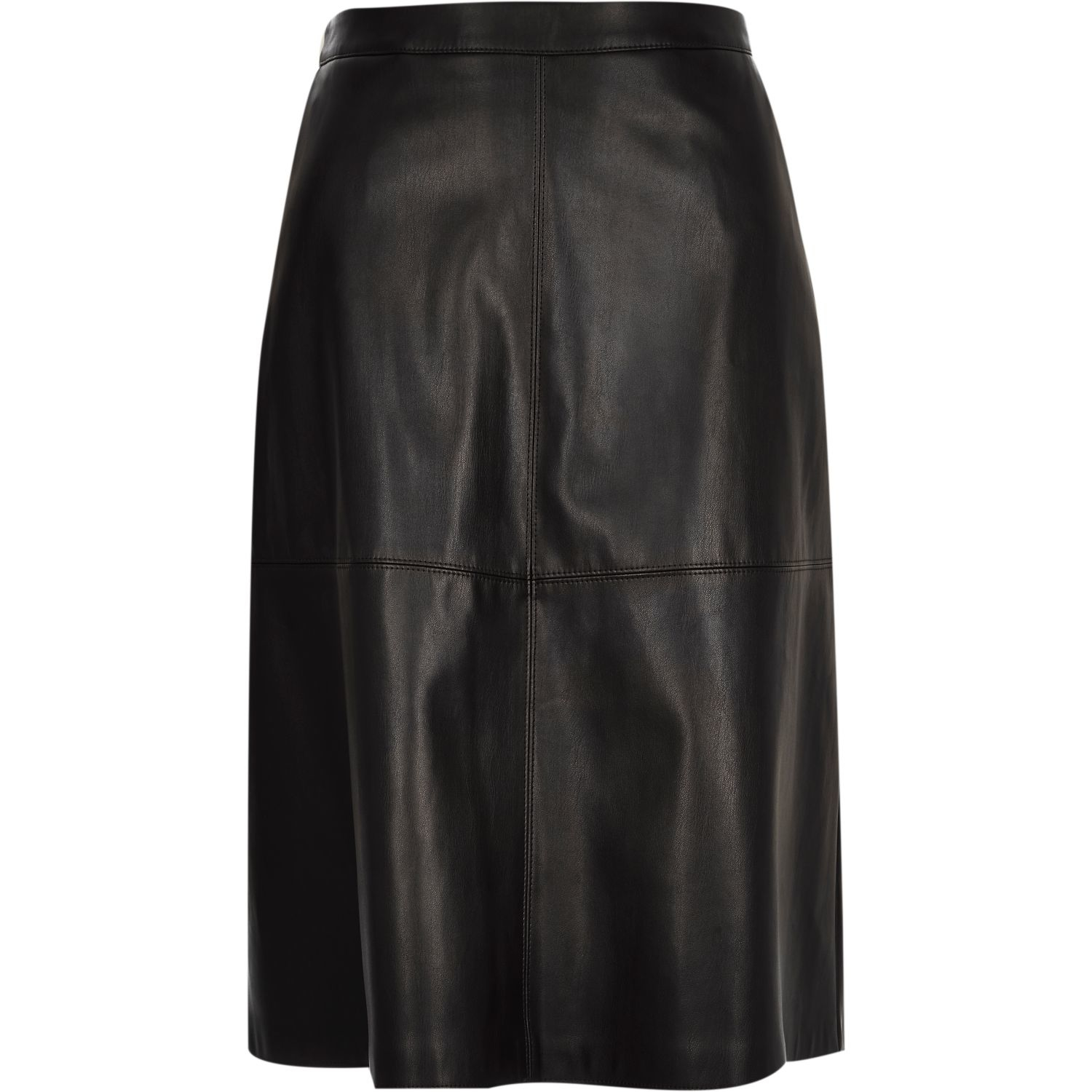 river island black leather look midi skirt in black lyst