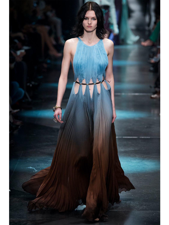 Lyst Roberto Cavalli Plisse Silk Chiffon Gown In Blue