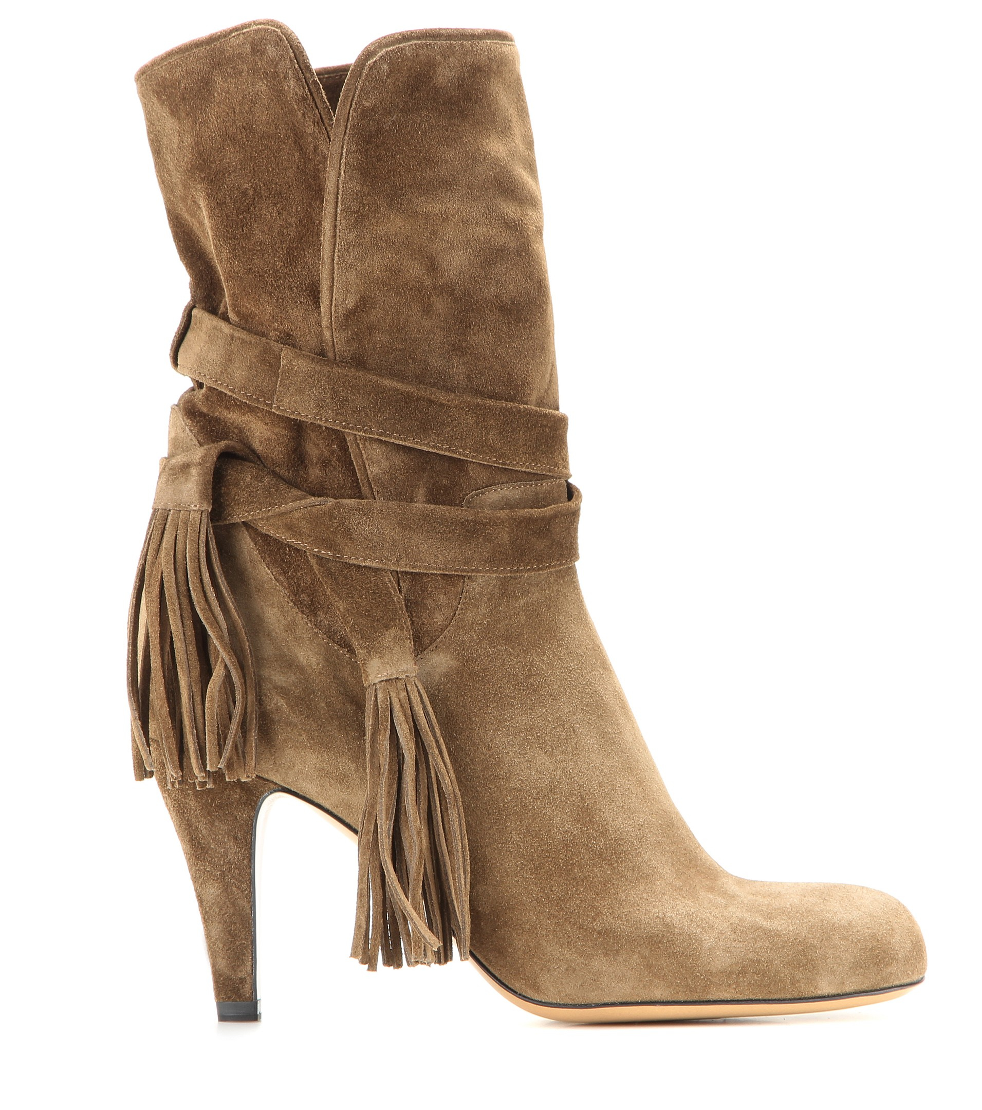 Chloé Wrap-Tie Suede Ankle Boots in Green   Lyst