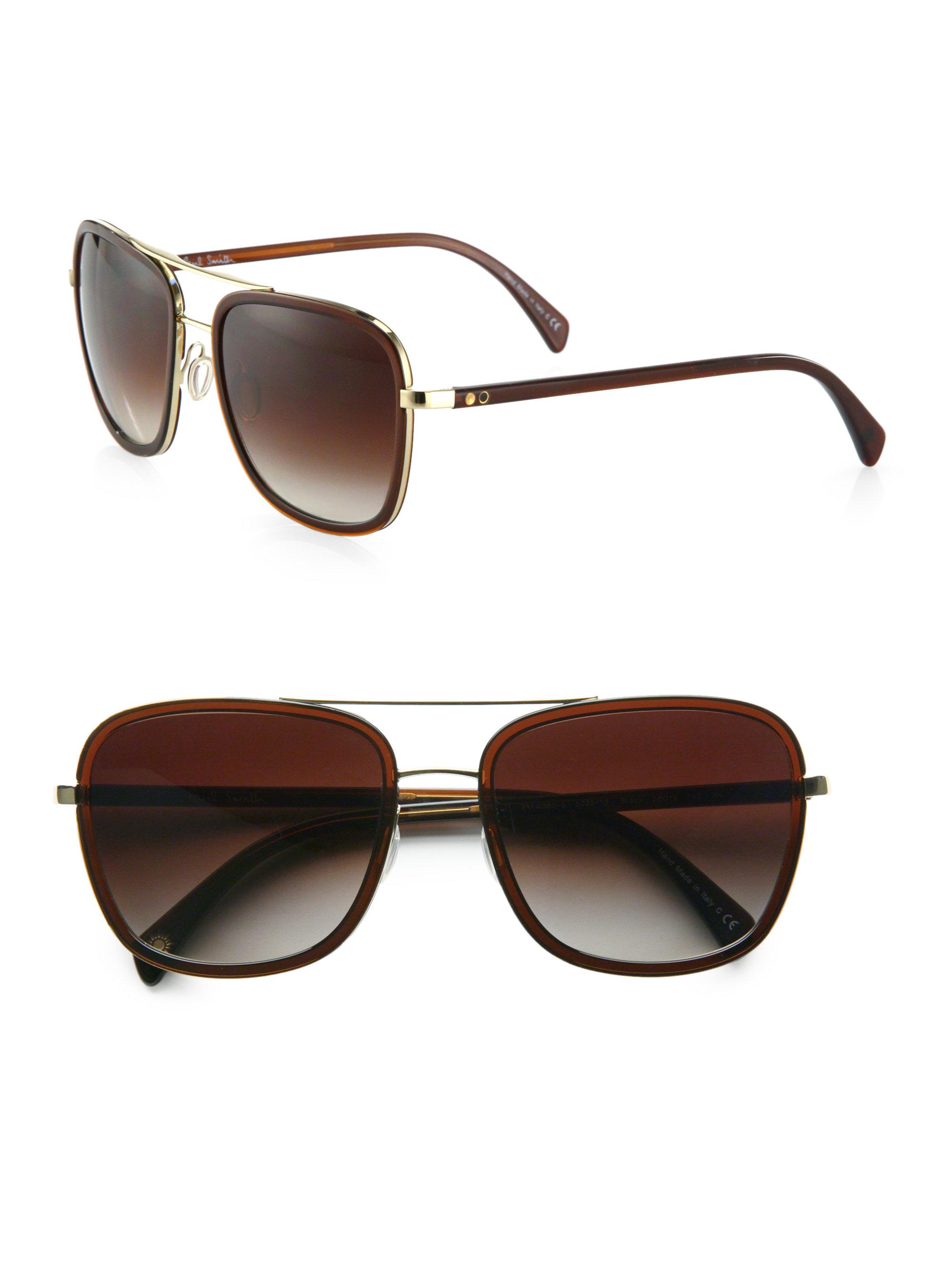 f896ee5d8f Lyst - Paul Smith Brock Aviator Sunglasses in Metallic for Men