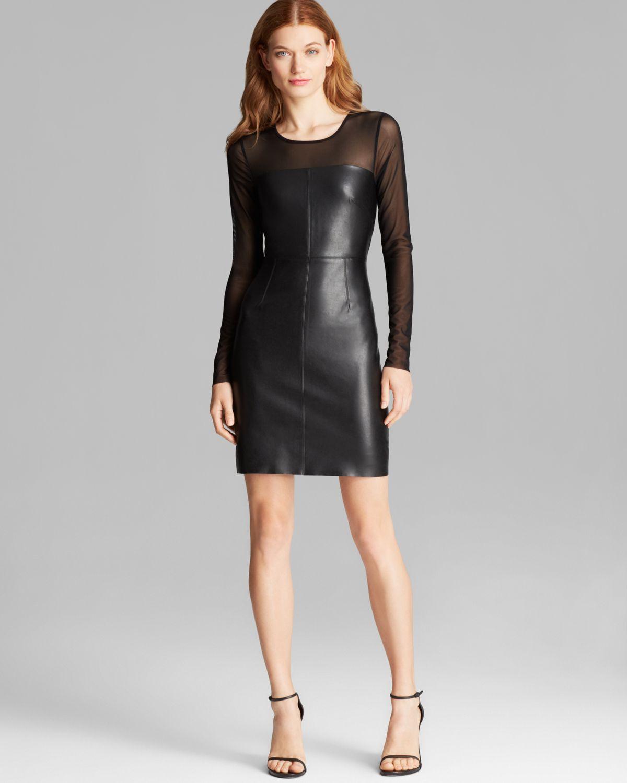 d157af8501 Bailey 44 Dress - Hardwood Mesh Illusion Faux Leather Front in Black ...