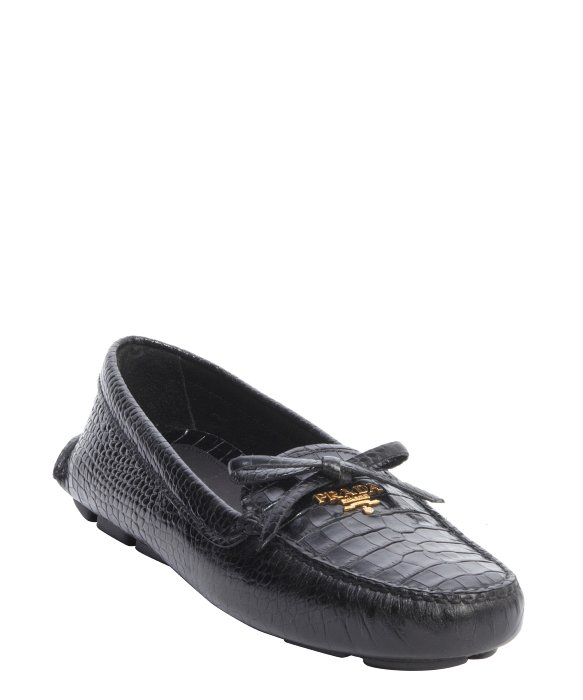 Prada Black Croc Embossed Leather \u0026#39;Stampa Cocco\u0026#39; Slip-On Loafers ...