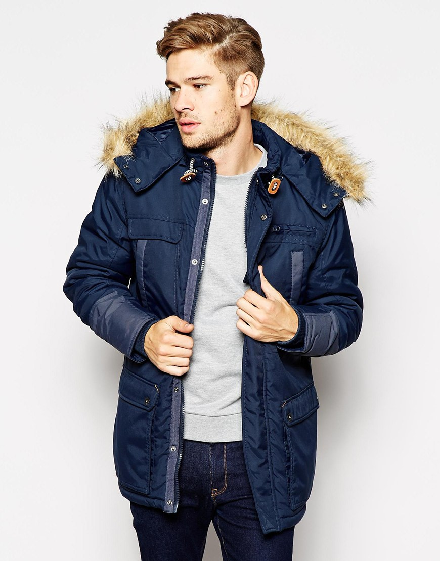 Blend Hooded Heavy Parka Jacket in Blue for Men | Lyst