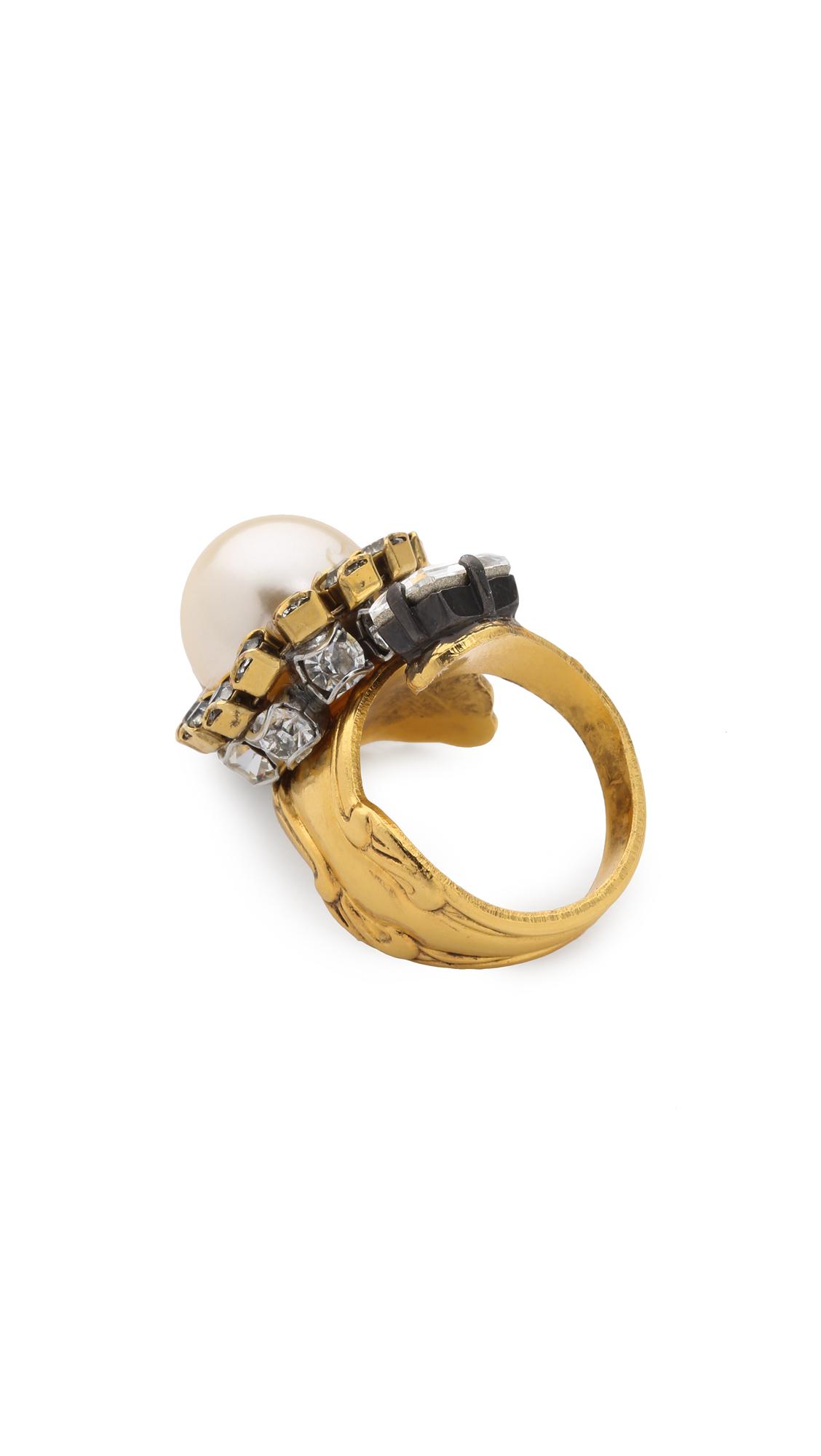 China Club Embellished Pewter-Tone Ring Erickson Beamon ZSjCYRR