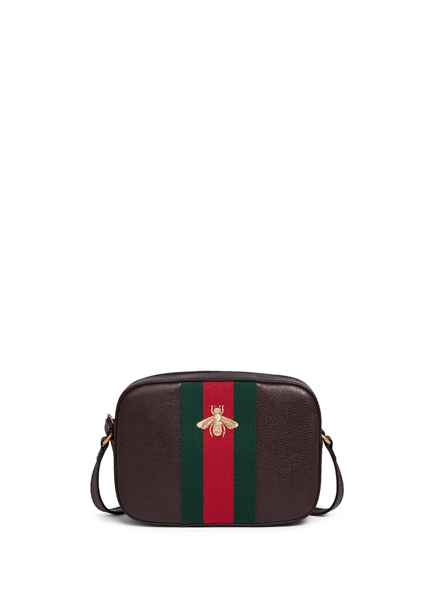 745a57890d9 Lyst - Gucci  webby  Bee Embroidery Web Leather Crossbody Bag in Brown