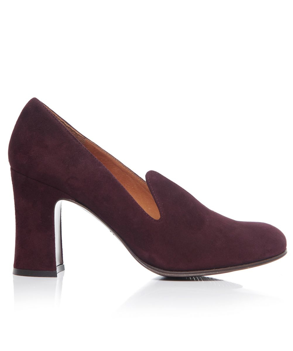 chie mihara guilty suede slip on heels in purple wine lyst. Black Bedroom Furniture Sets. Home Design Ideas