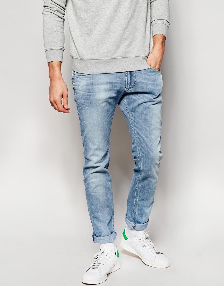 948dbe78 DIESEL Jeans Thavar Dna 839g Slim Fit Bleach Wash in Blue for Men - Lyst