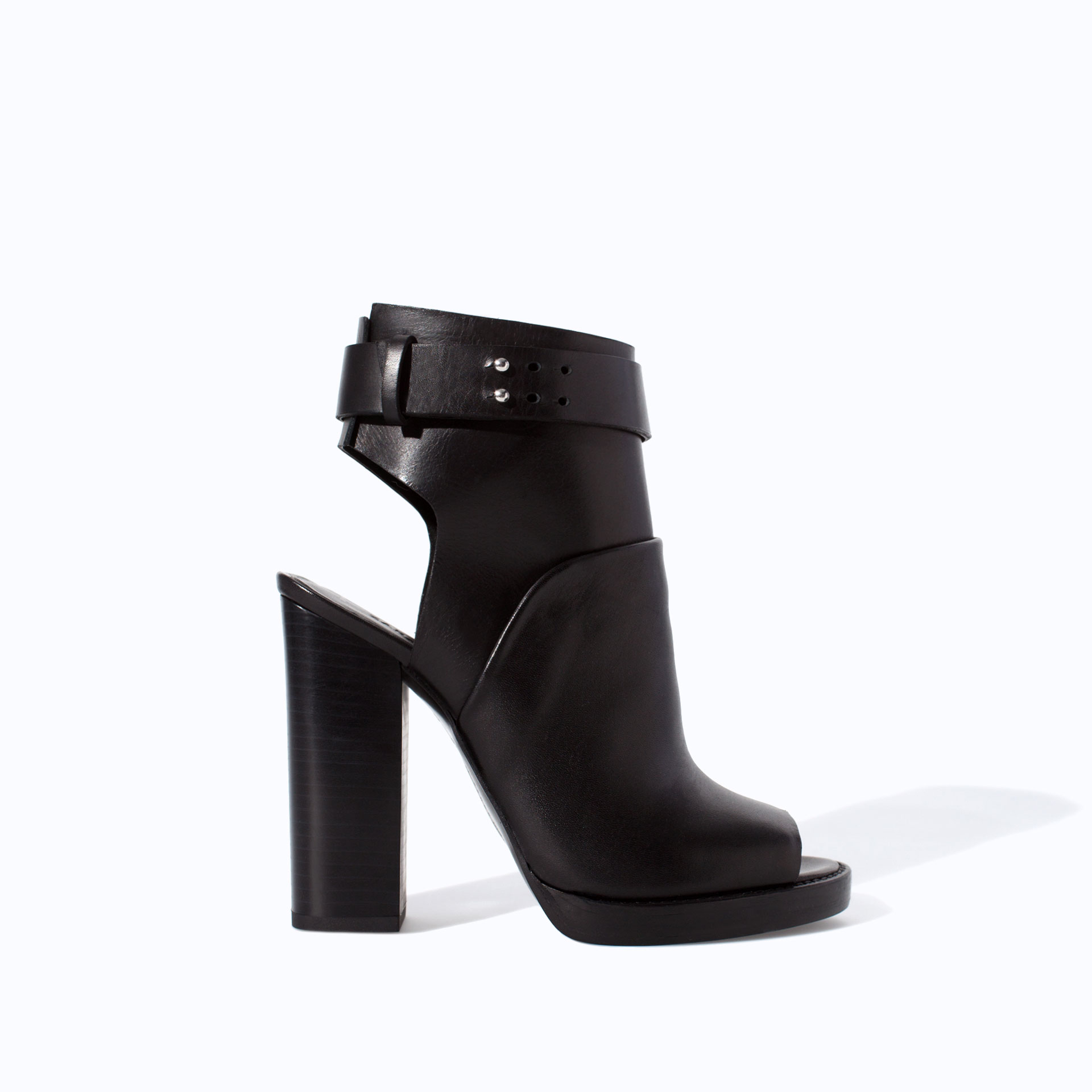 Zara Leather High Heel Peep Toe Ankle Boot in Black | Lyst