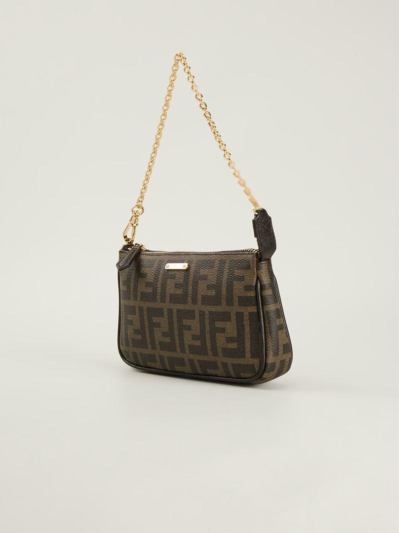 6a3b404aa10 Fendi Signature Monogram Shoulder Bag in Brown - Lyst