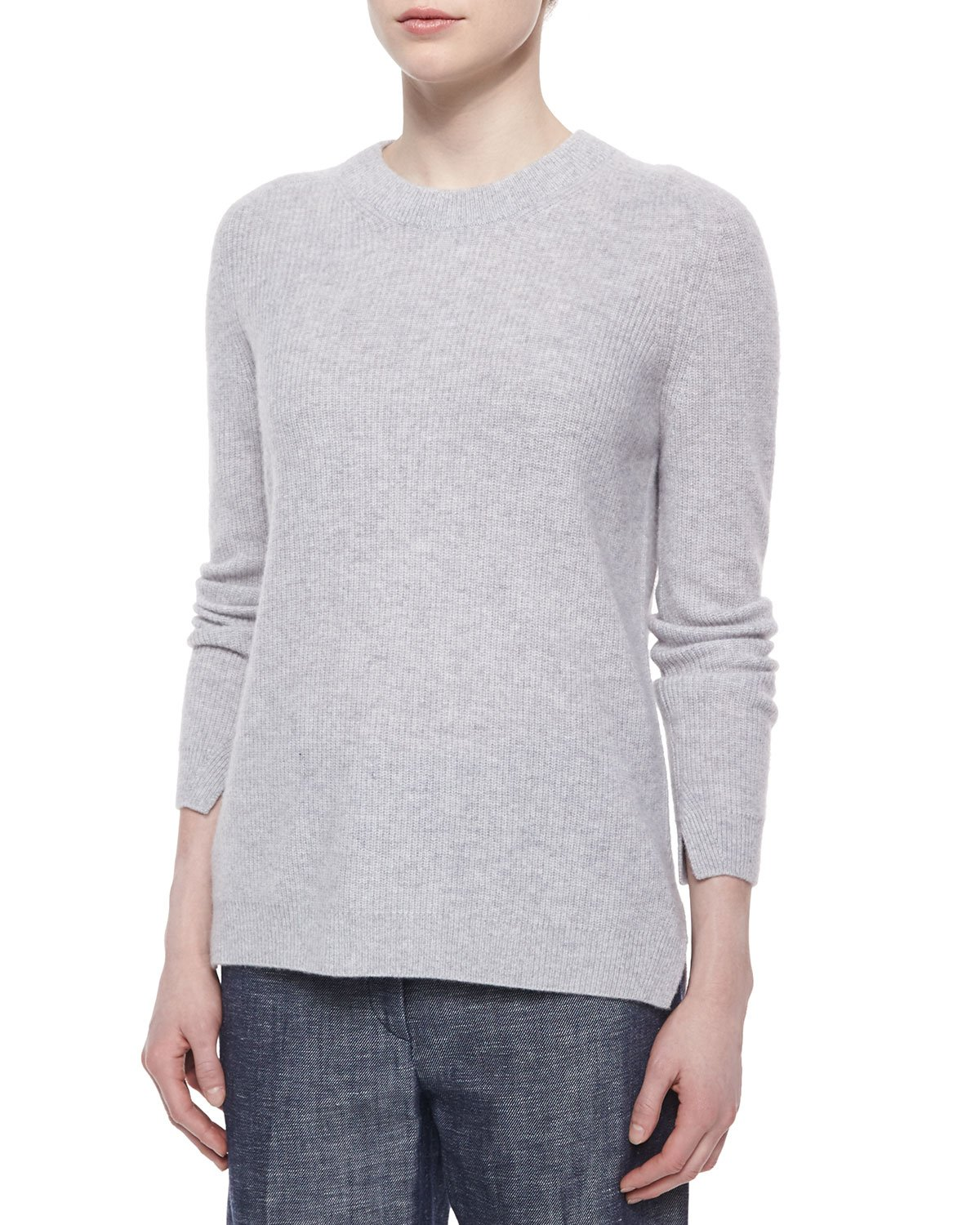 Rag & bone Cashmere Valentina Ribbed Sweater in Gray | Lyst