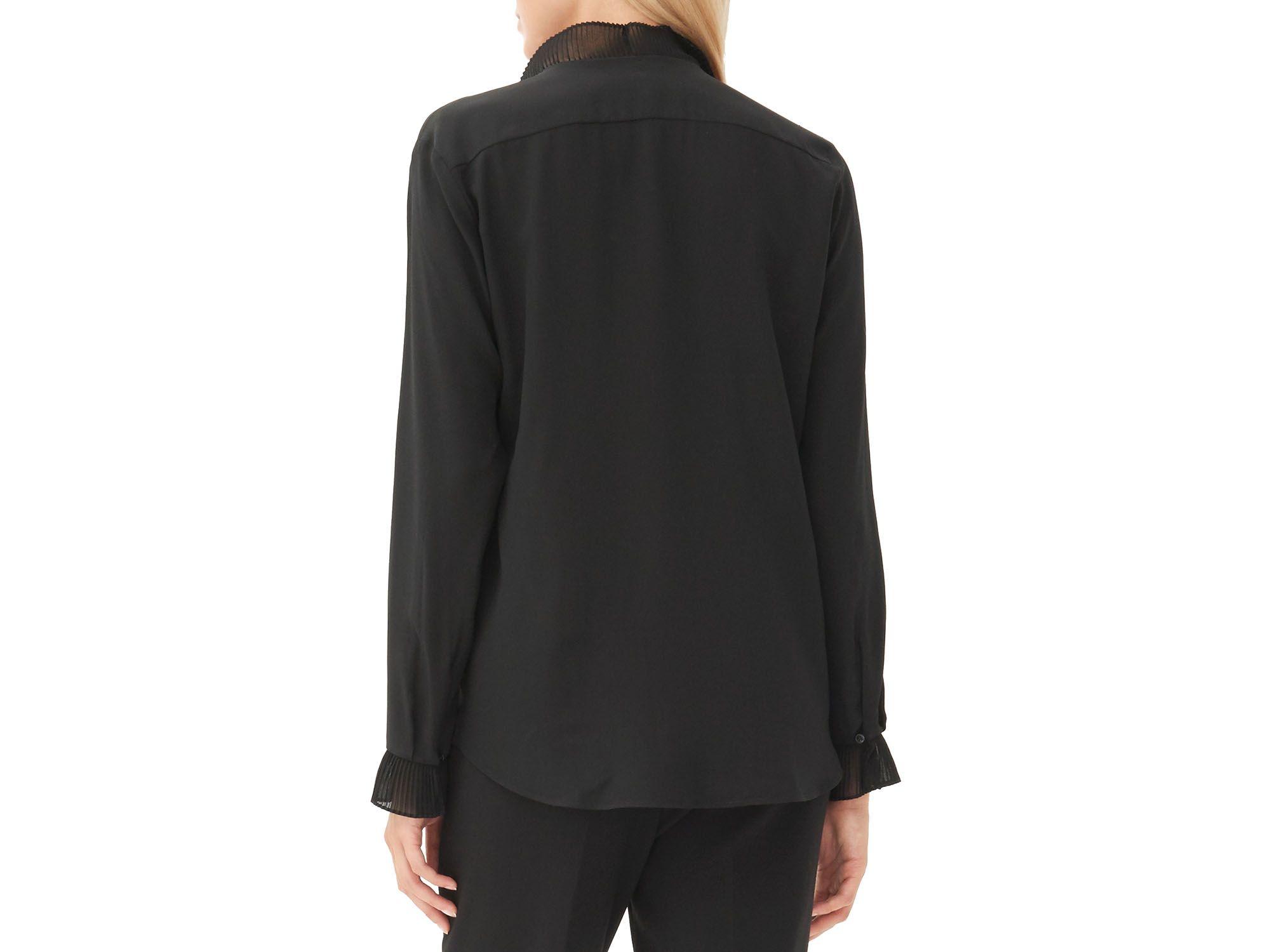 134c2e89b952a3 Sandro Coline Pleated Ruffle Silk Blouse in Black - Lyst