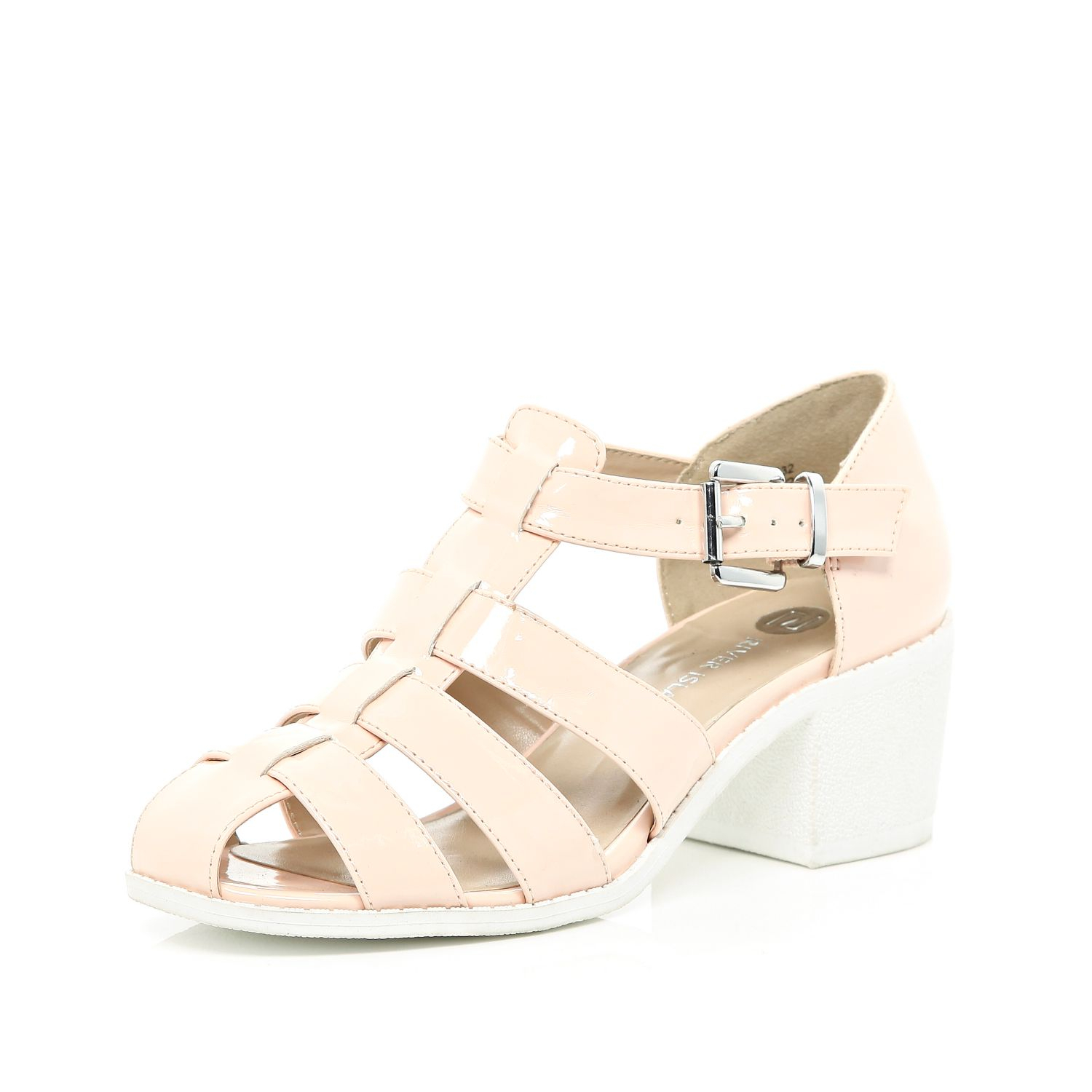 river island light pink block heel strappy shoes in pink