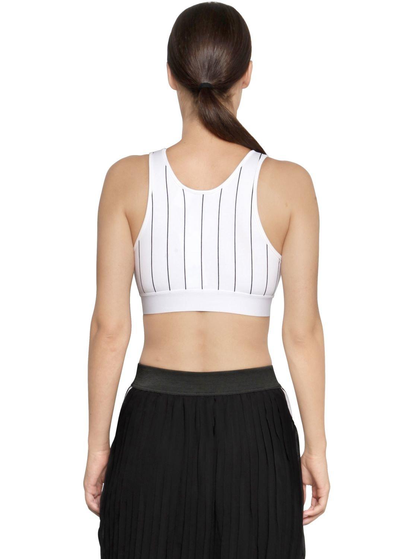 d43c324f51a29 Lyst - adidas Originals Tennis Striped Trefoil Bra Top in White