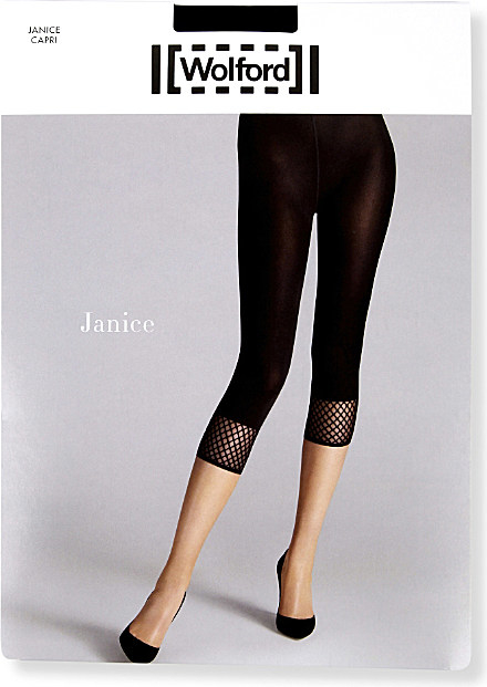 892c14257419 Wolford Janice Fishnet Capri Tights in Black