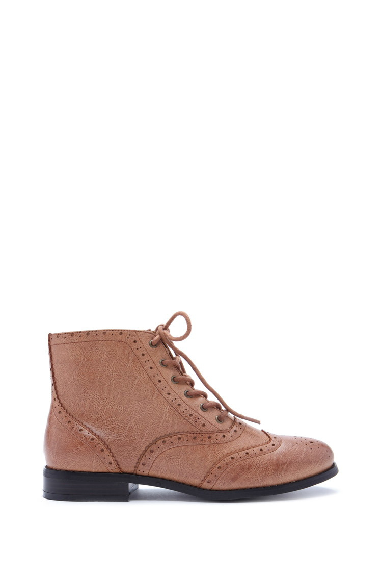 Forever 21 Perforated Faux Leather Booties In Brown | Lyst