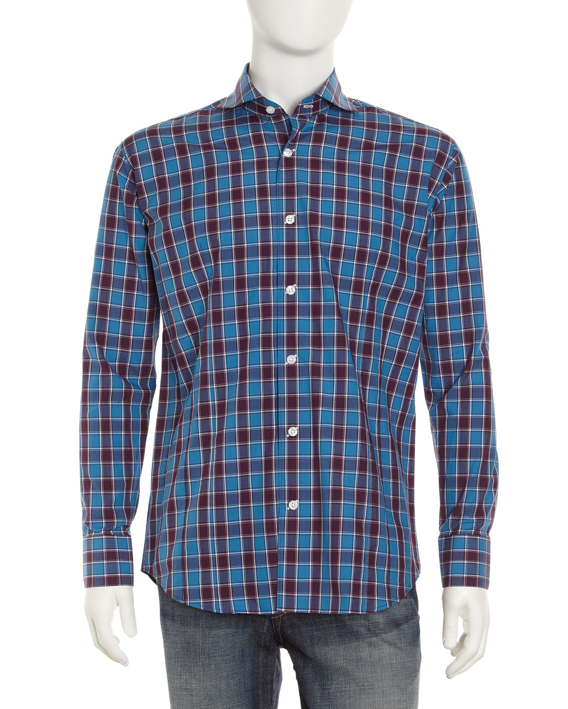 Bogosse Chain Plaid Sport Shirt Navy In Blue For Men Navy
