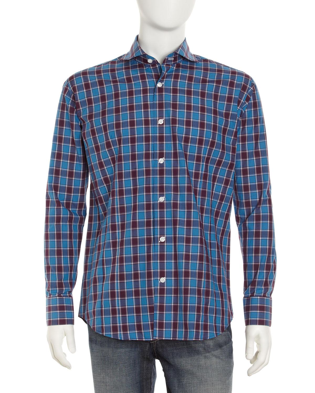 Bogosse chain plaid sport shirt navy in blue for men navy for Navy blue plaid shirt