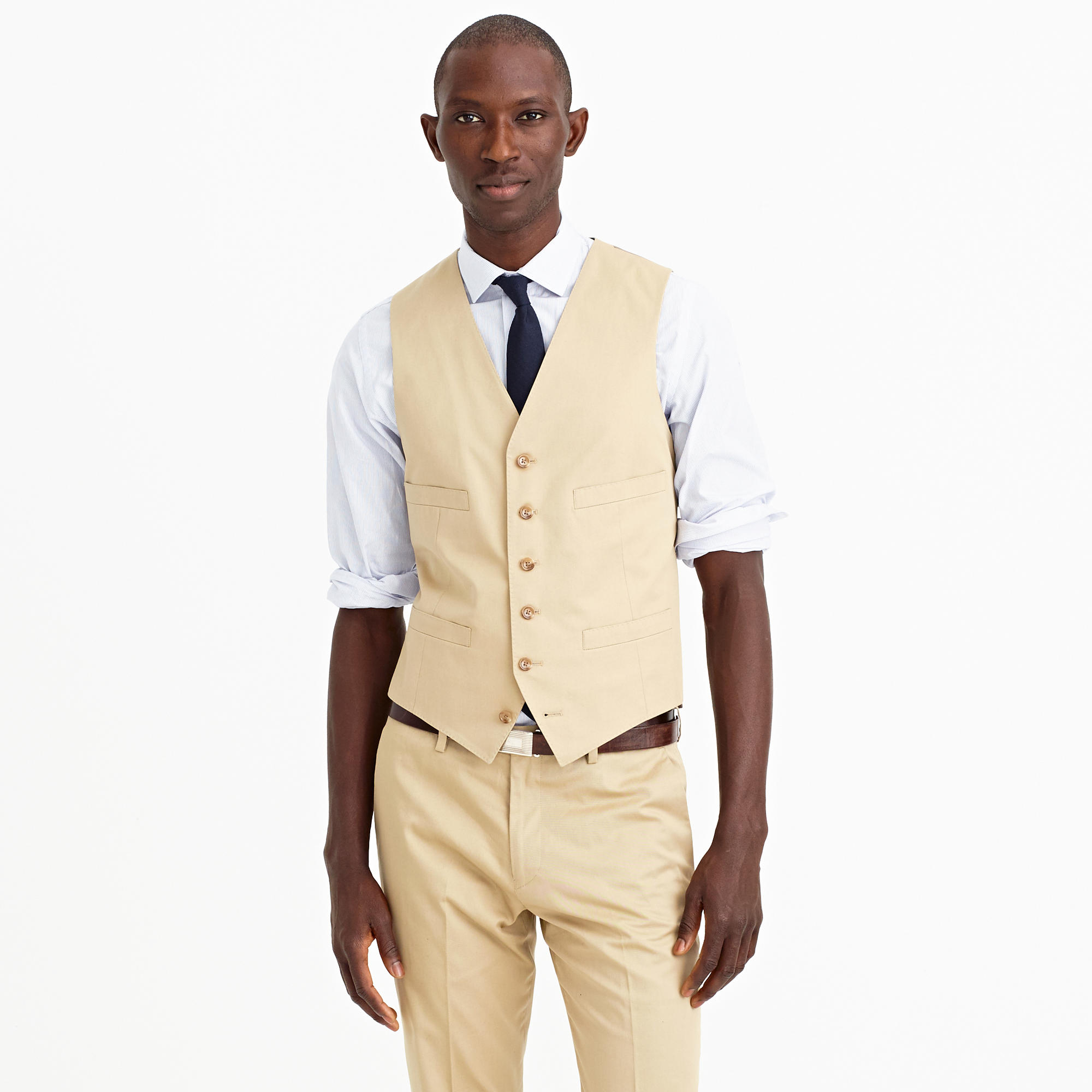 Lyst j crew ludlow suit vest in italian chino in natural for J crew mens outfits