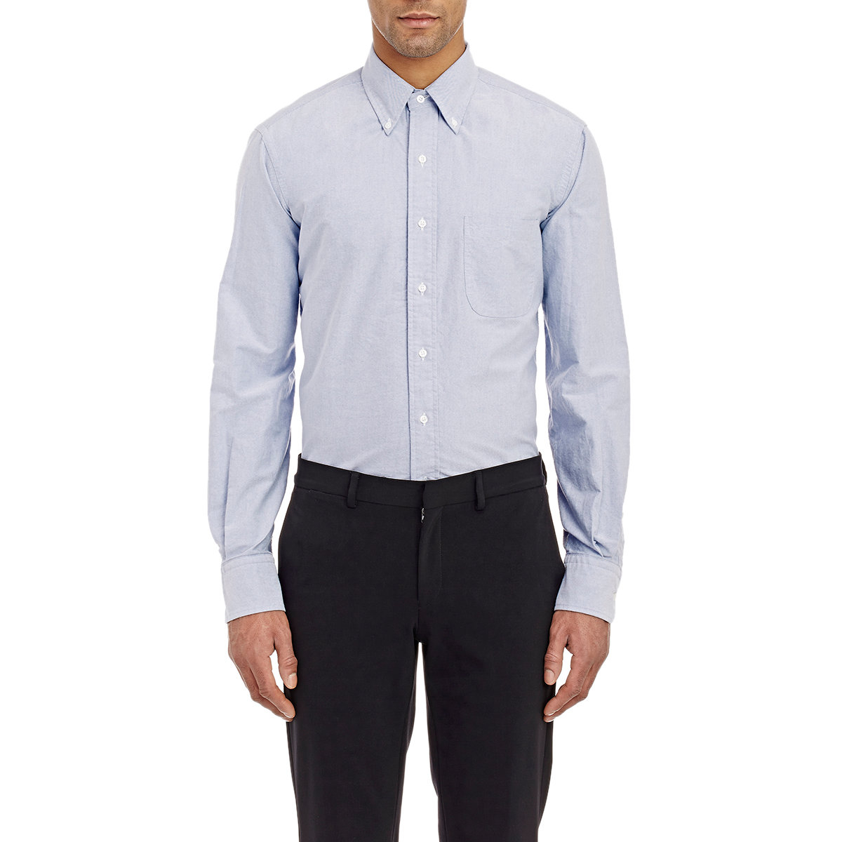 thom browne oxford cloth shirt in blue for men lyst
