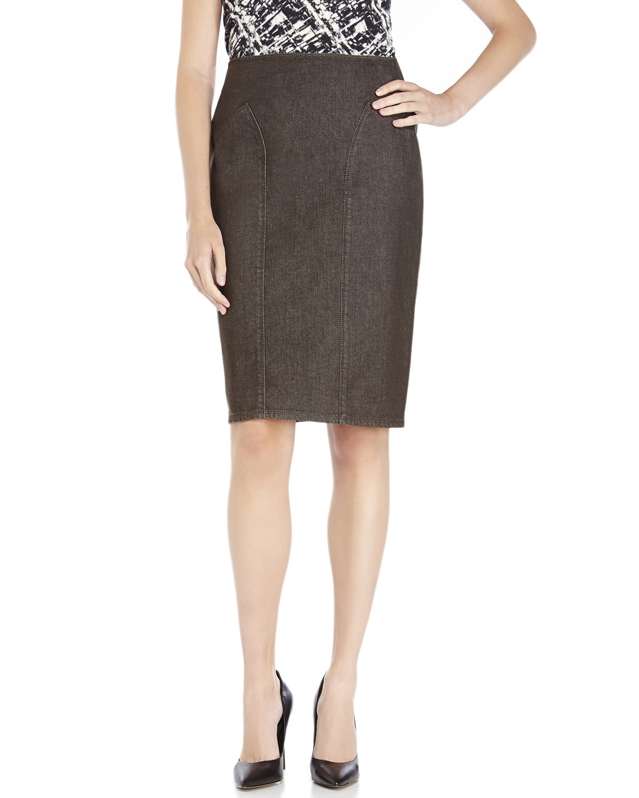 Lafayette 148 new york Brown Denim Skirt in Brown | Lyst
