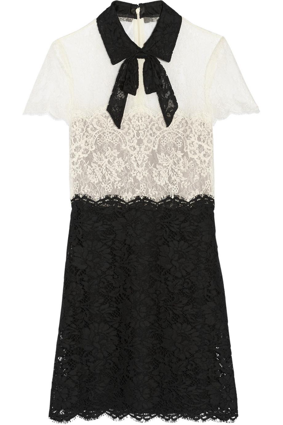 Lyst Valentino Pussy Bow Lace Mini Dress In Black