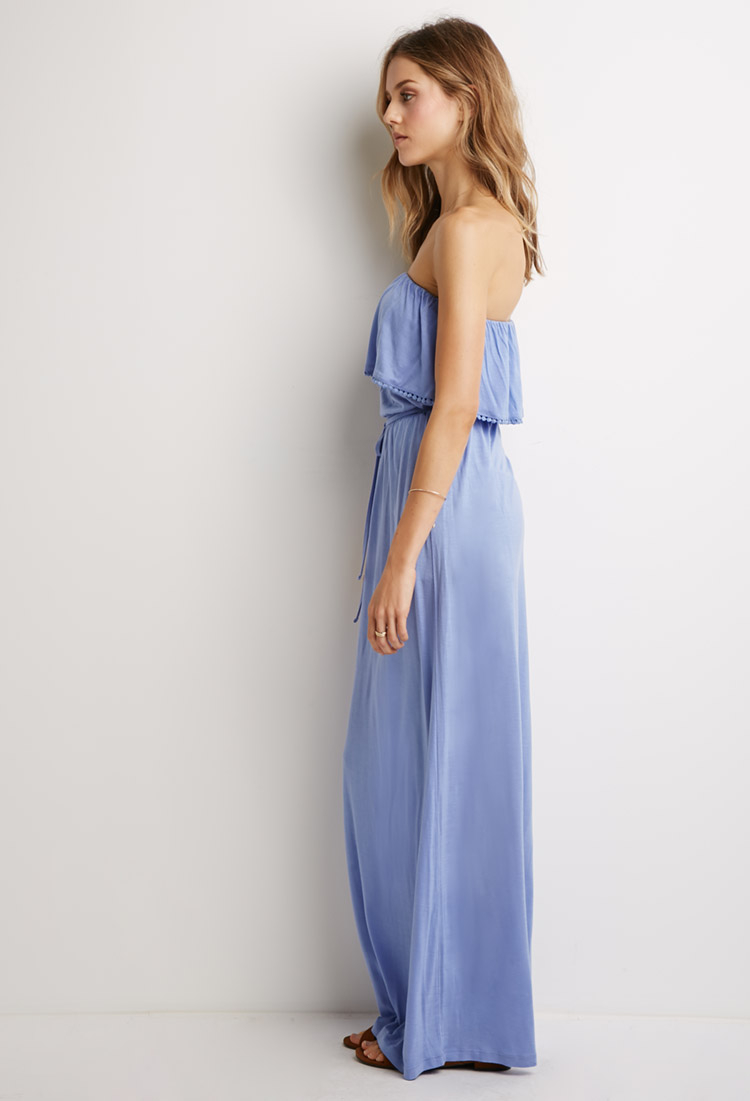 Lyst Forever 21 Strapless Flounce Maxi Dress In Blue
