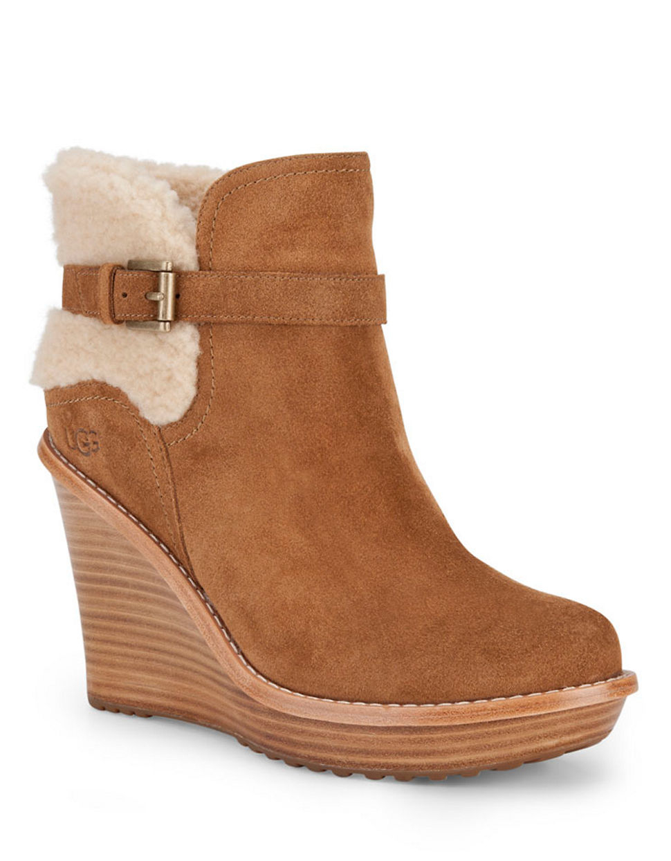 ugg suede sheepskin wedge ankle boots in brown