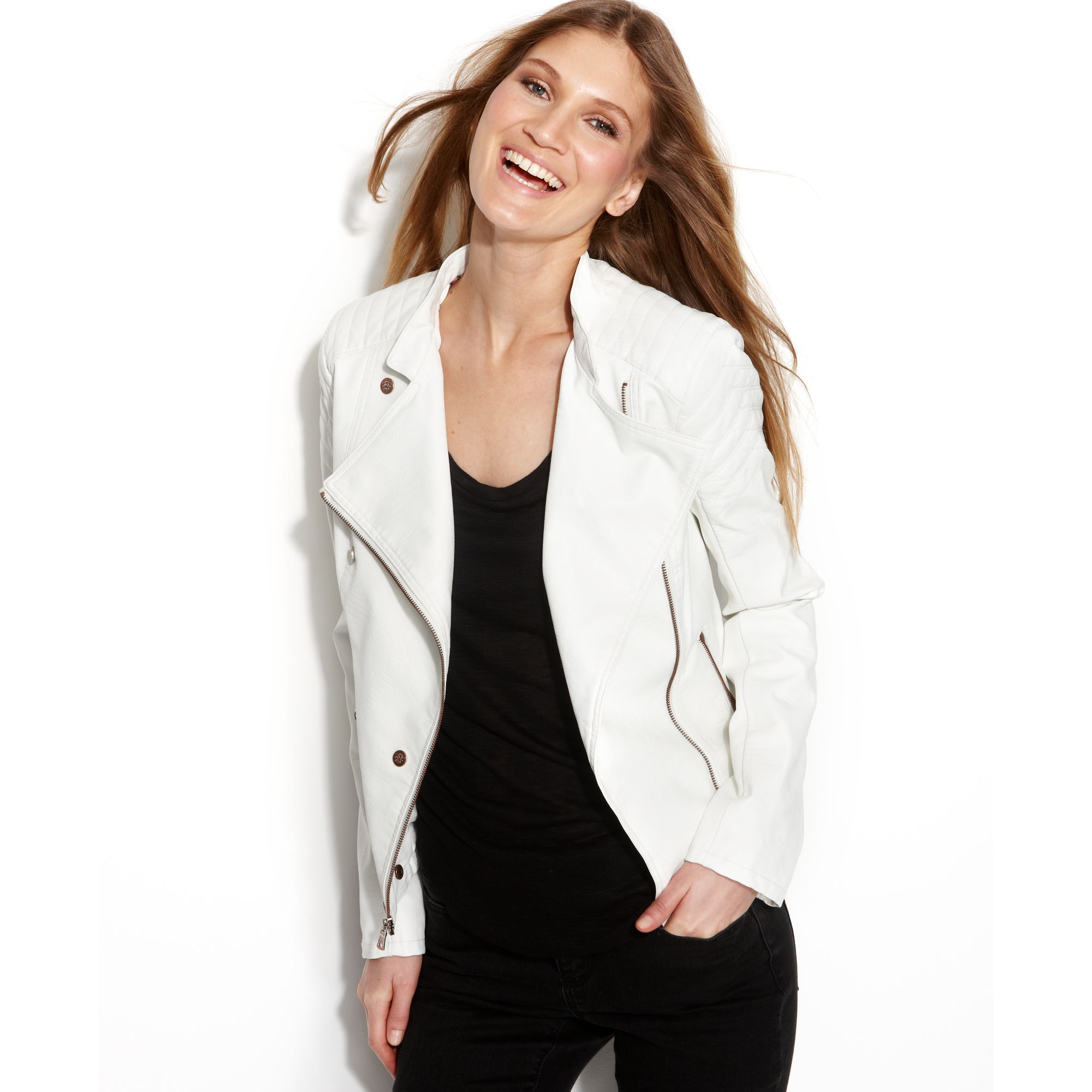 8d4bbf638cfb7 Lyst - Jessica Simpson Leather Motorcycle Jacket in White