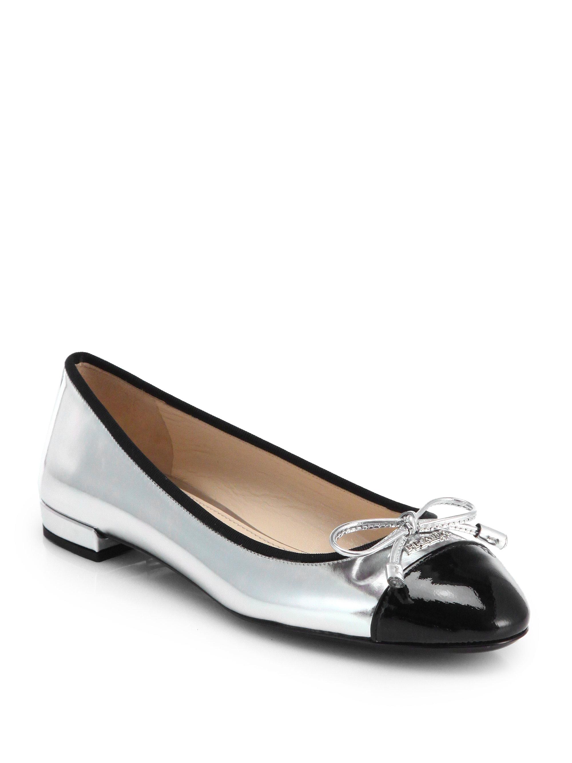 Prada Metallic Leather Cap-Toe Ballet Flats in Silver ...