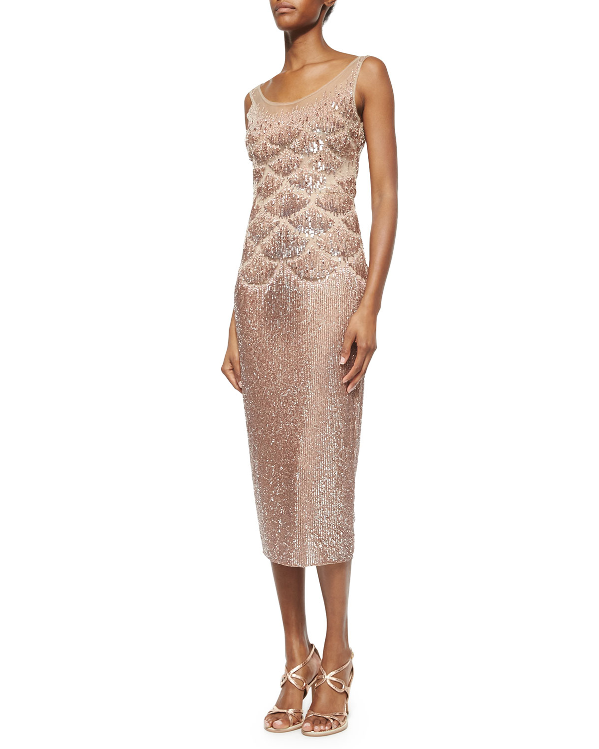 Lyst - Jenny Packham Beaded Fishscale Illusion Cocktail Dress in Natural