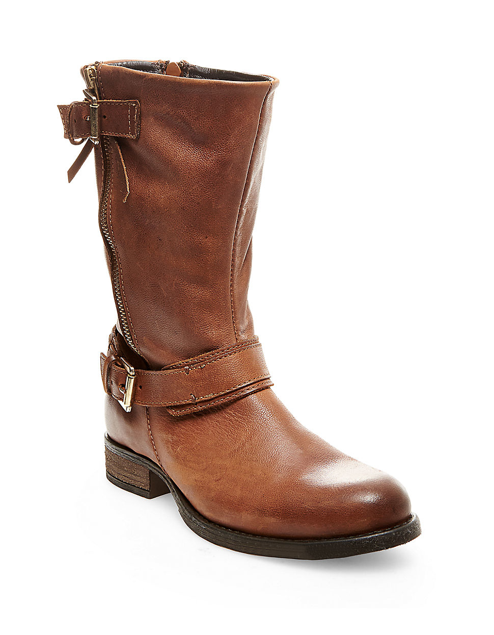 steve madden kavilier leather boots in brown lyst