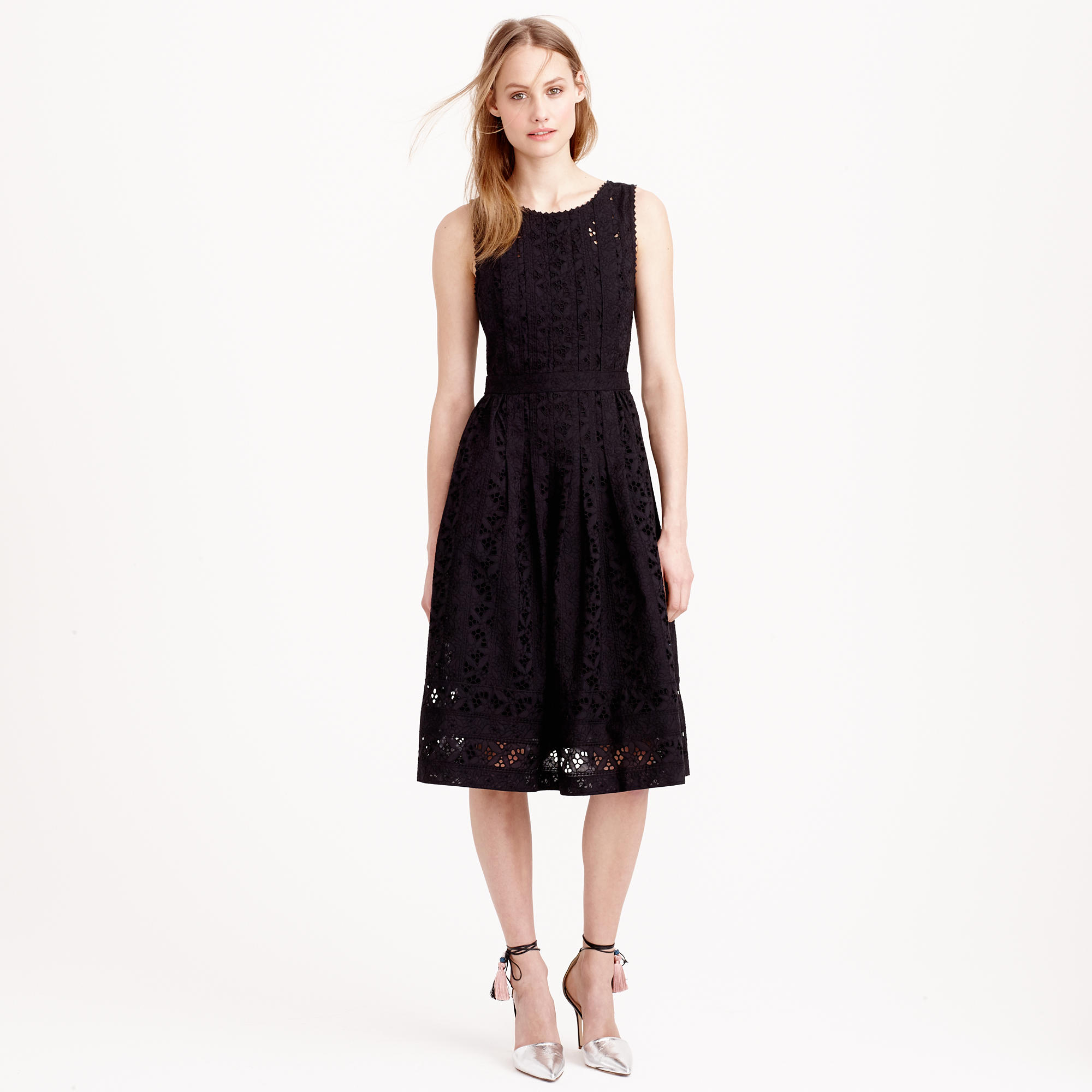 J.crew Collection Pleated Eyelet Dress in Black | Lyst