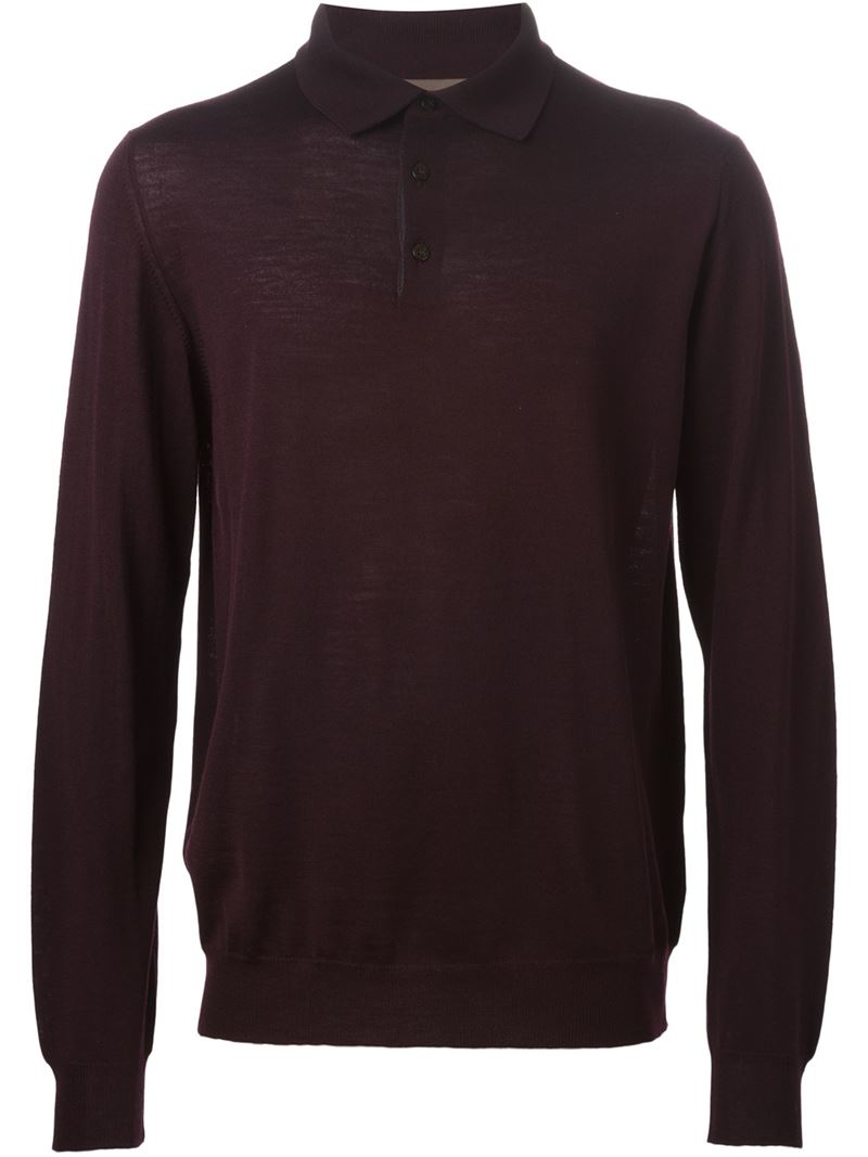 Etro long sleeve polo shirt in pink for men lyst for Long sleeve purple polo shirt