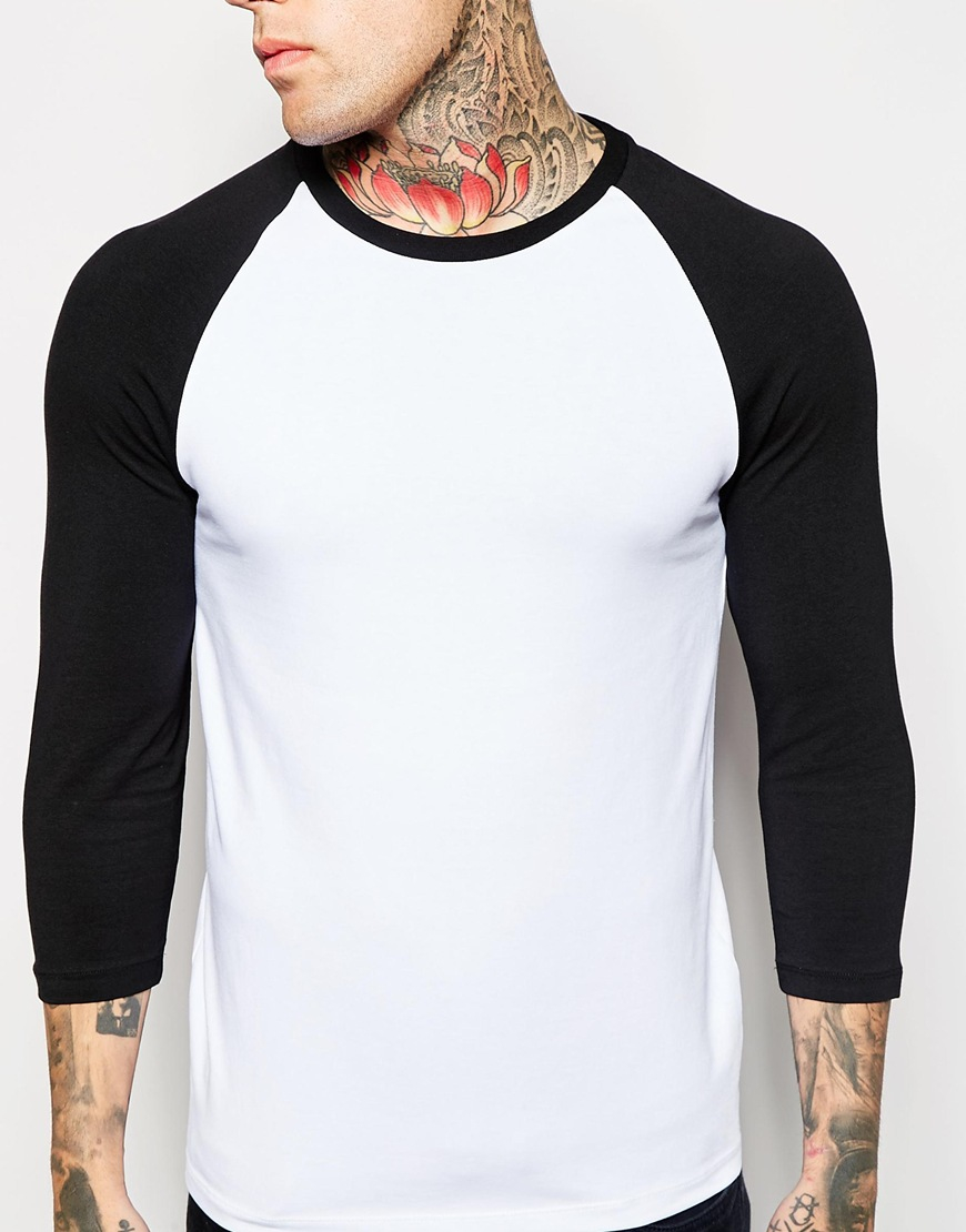 12719ba4c ASOS Muscle 3/4 Sleeve T-shirt With Contrast Raglan Sleeves in Black ...