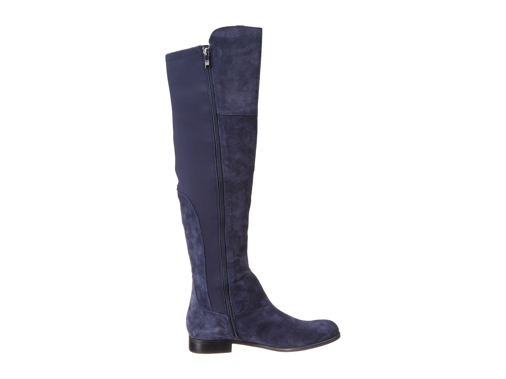 Lyst franco sarto mast stretch suede knee high boots in blue for Franco sarto motor over the knee boots