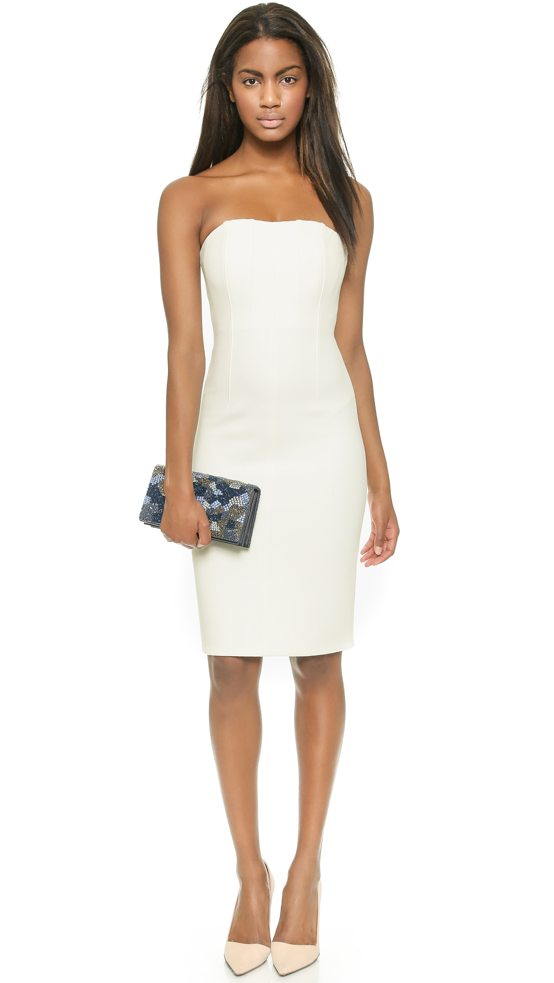 Shop by Color White Dresses Black Dresses Red Dresses Blue Dresses Green Dresses Purple Dresses Teal Dresses Pink Dresses Peach Dresses Grey Dresses Coral and Orange Dresses Taupe Dresses Yellow Dresses. Lulus You Belong With Me White and Nude Lace Strapless Maxi Dress $ + More. Lulus Love Poem Ivory Lace Dress $