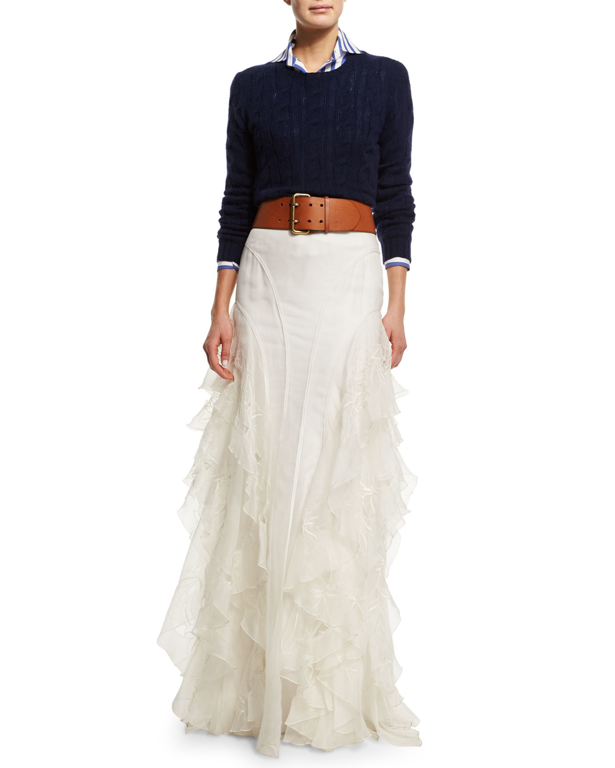 Ralph lauren collection Embroidered Silk Organza Maxi Skirt in ...